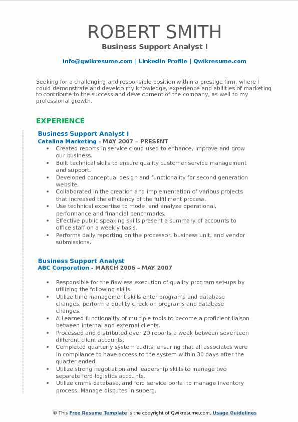 Business Support Analyst I Resume Template