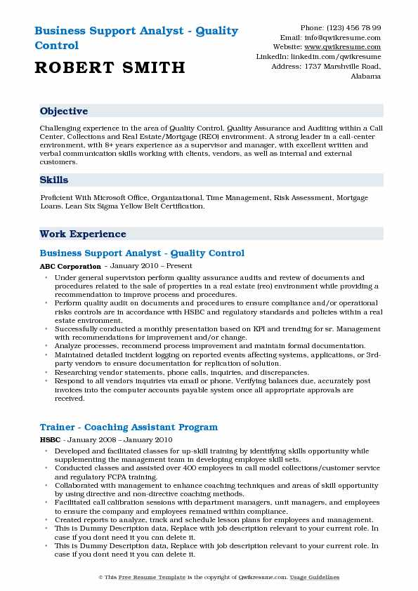 Business Support Analyst - Quality Control Resume Model