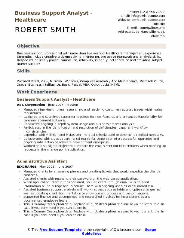 Business Support Analyst - Healthcare Resume Sample