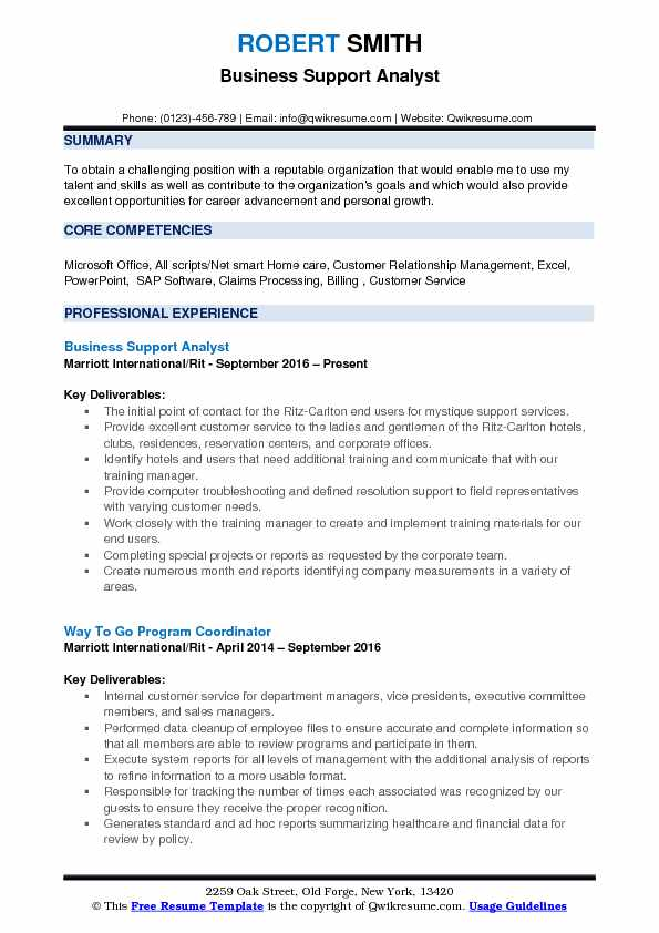 Business Support Analyst Resume Sample