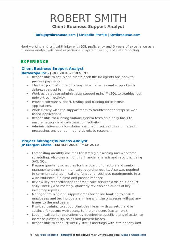 Client Business Support Analyst Resume Template