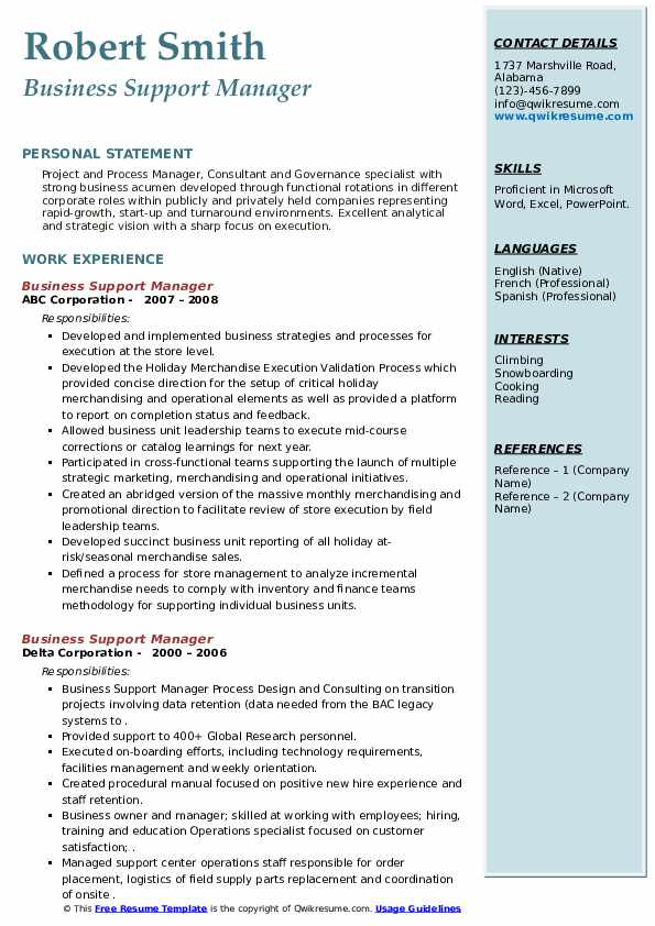 Business Support Manager Resume example