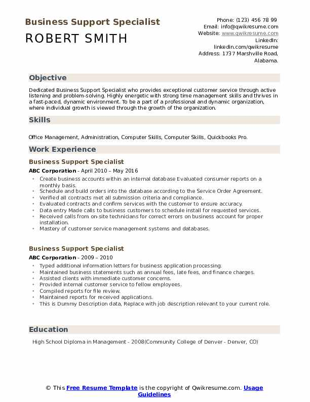 Business Support Specialist Resume example