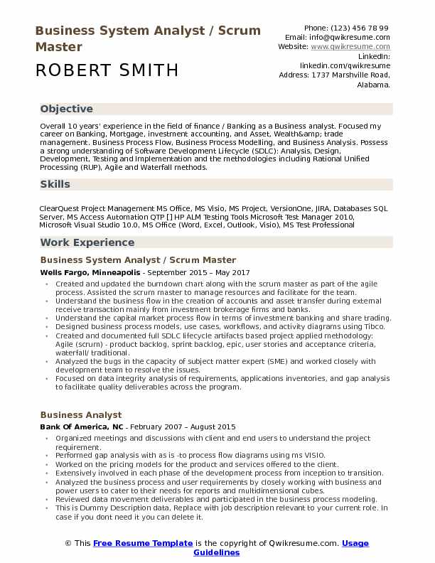 Business System Analyst / Scrum Master Resume Sample  Master Resume Template