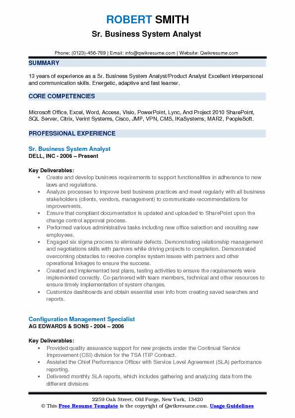 Sr Business System Analyst Resume Format