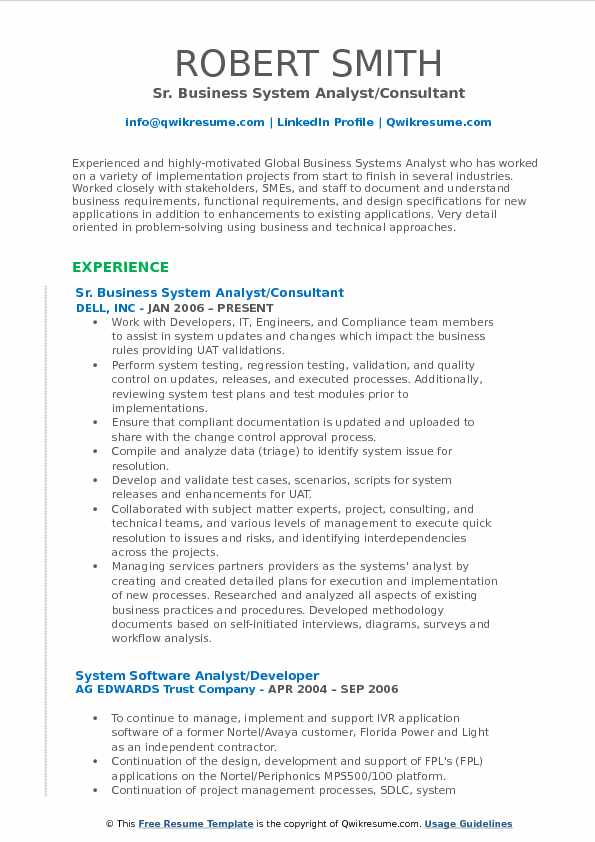 Sr. Business System Analyst/Consultant Resume Sample  Business Systems Analyst Resume