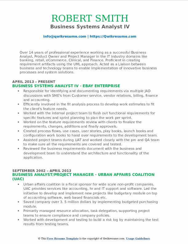 Business Systems Analyst IV Resume Model