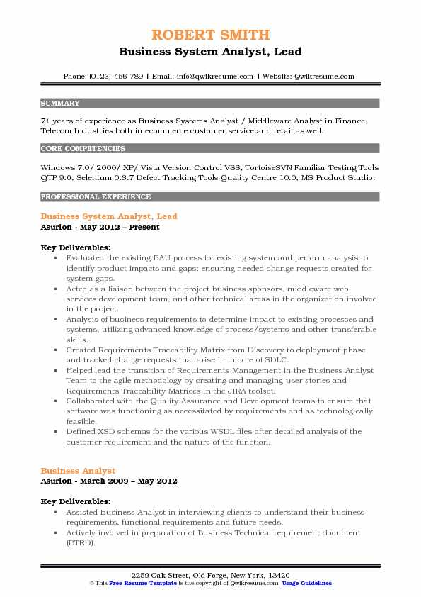 Business System Analyst, Lead Resume Model