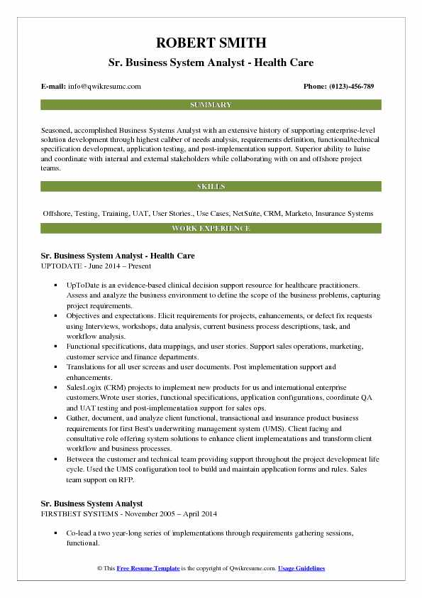 Business System Analyst Resume example