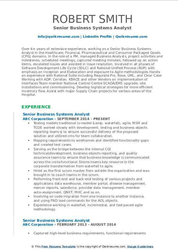 business systems analyst resume samples