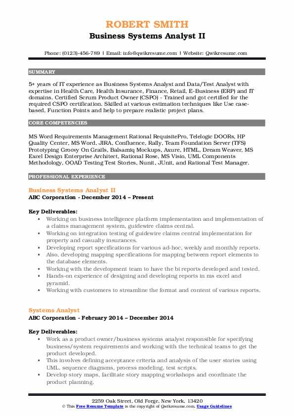 Business Systems Analyst Resume Samples | QwikResume