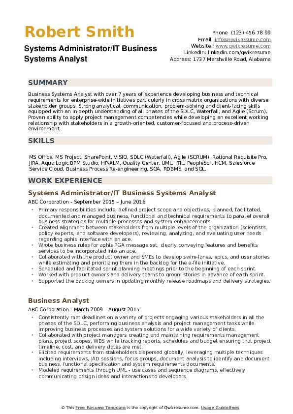 Business Systems Analyst Resume Samples Qwikresume