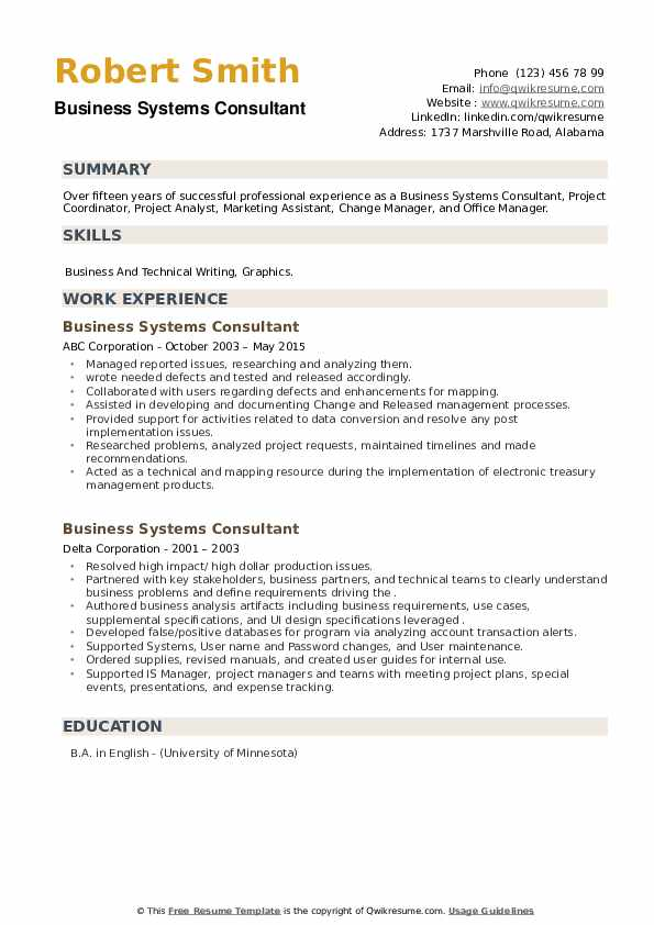 Business Systems Consultant Resume example