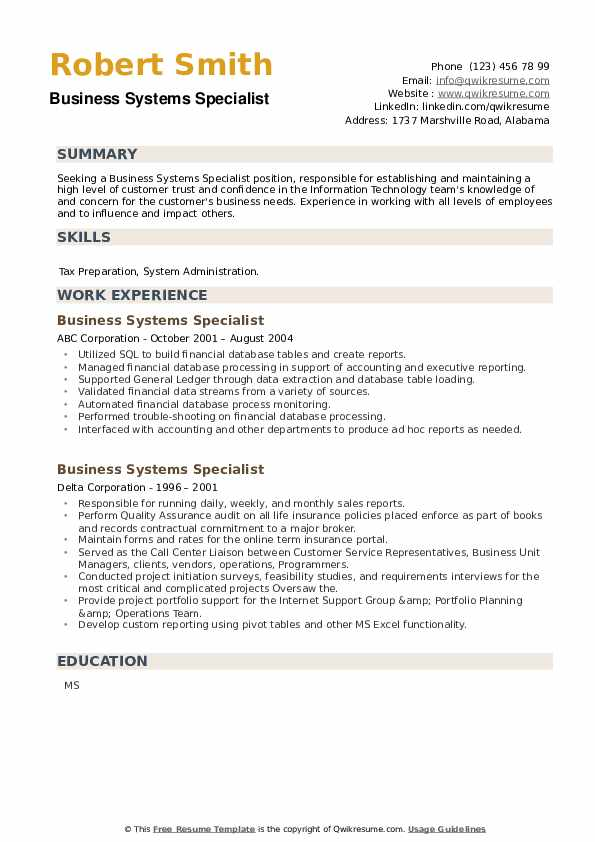 Business Systems Specialist Resume example