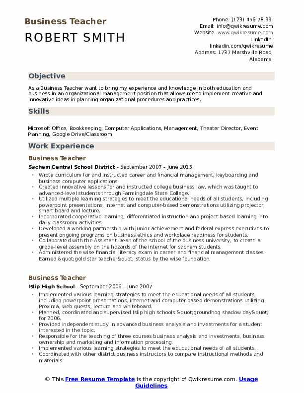 Business Teacher Resume Model