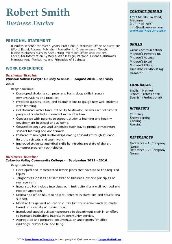 business teacher resume samples