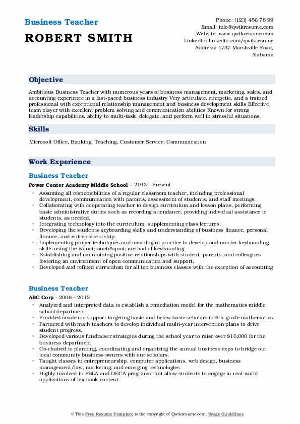 Business Teacher Resume Format