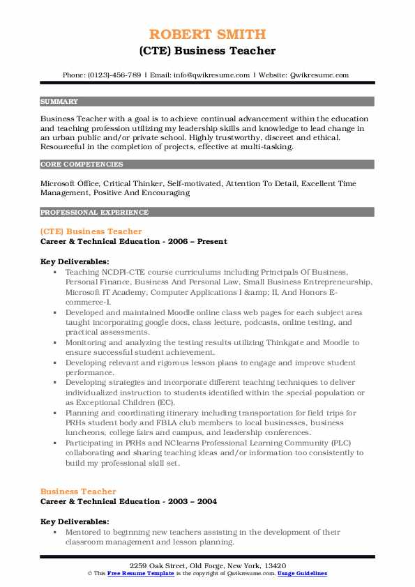 (CTE) Business Teacher Resume Model