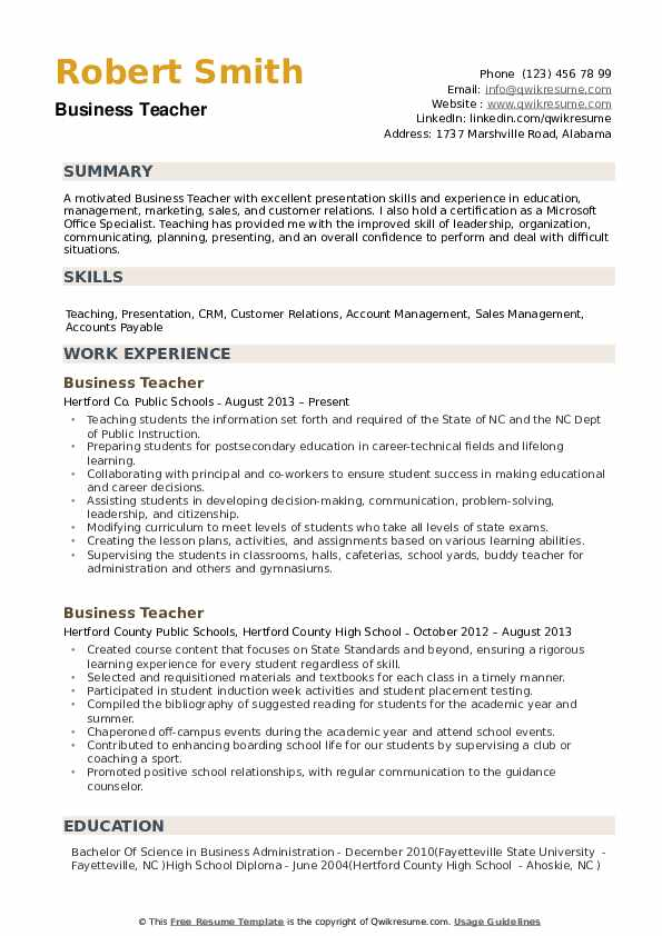 Business Teacher Resume Samples | QwikResume