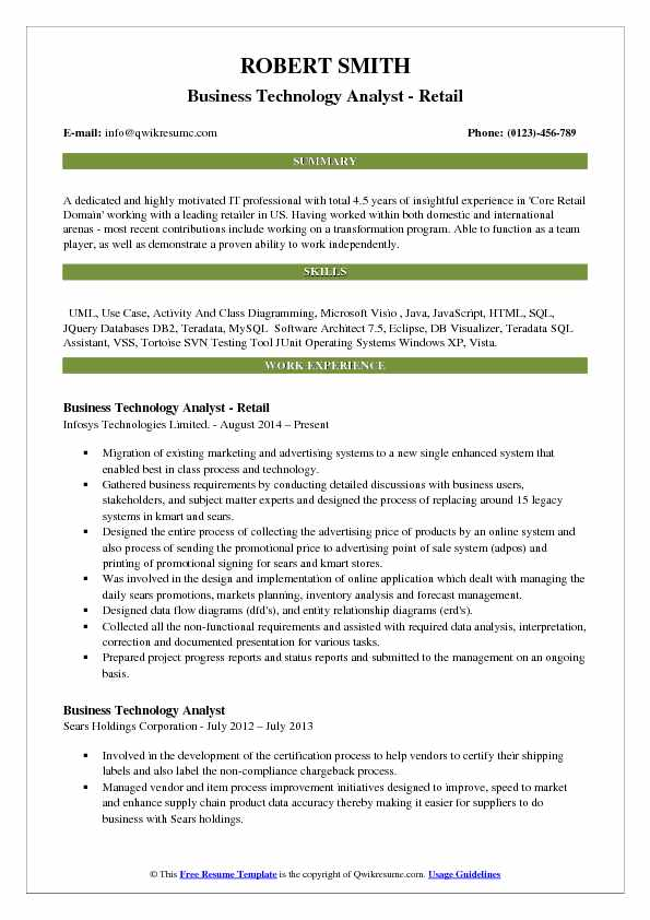 Business Technology Analyst - Retail Resume Sample