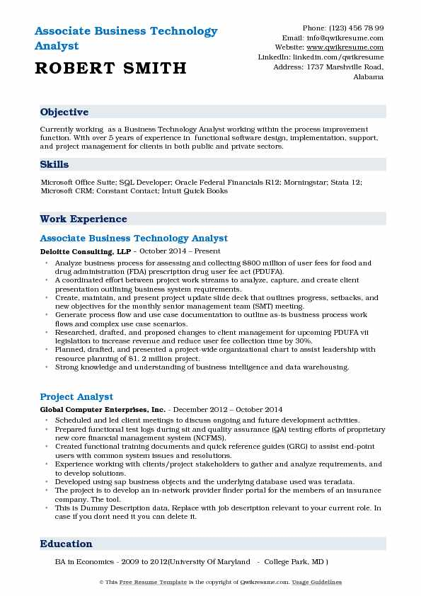 Associate Business Technology Analyst Resume Model