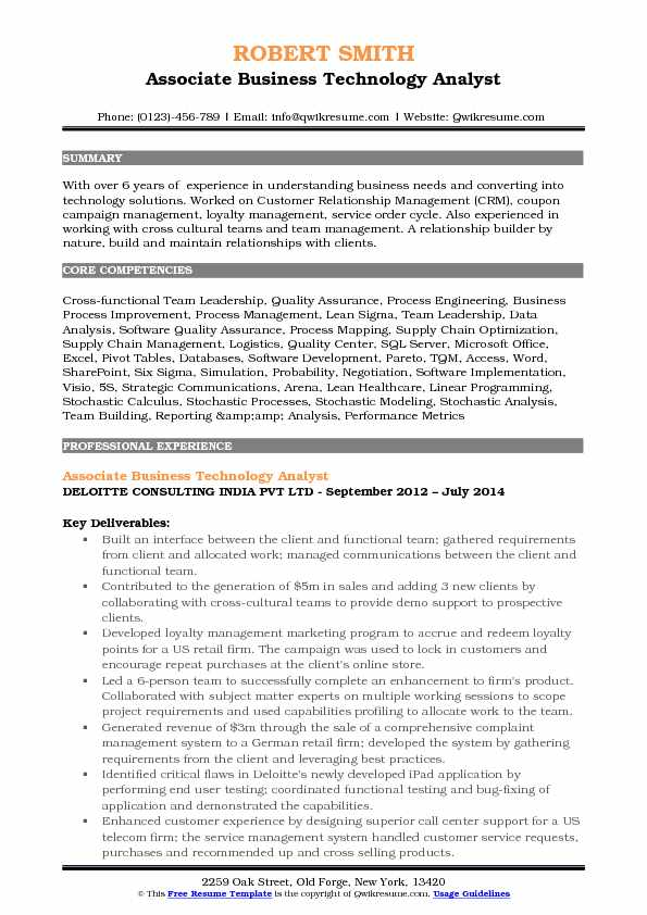 Associate Business Technology Analyst Resume Format