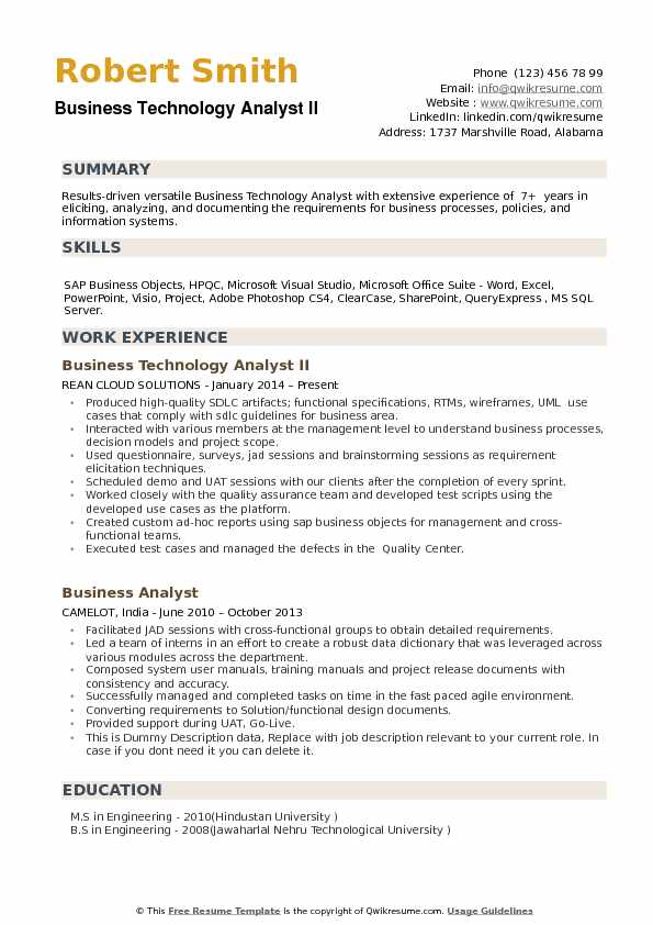 Business Technology Analyst II Resume Sample
