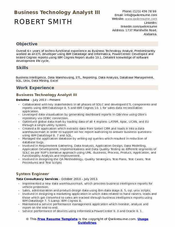 Business Technology Analyst III Resume Example