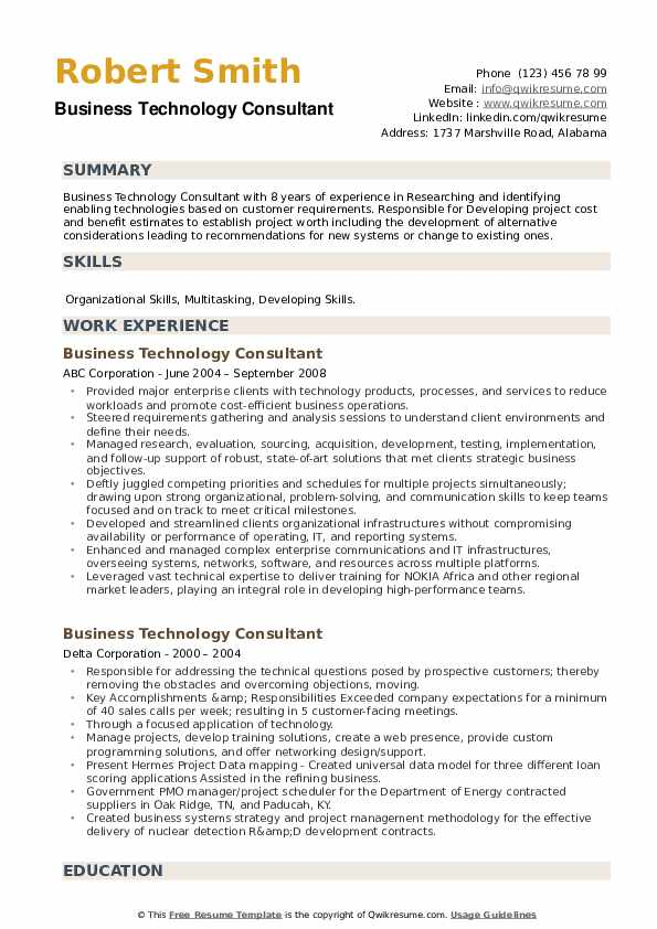 Business Technology Consultant Resume example