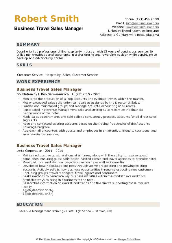 Business Travel Sales Manager Resume example