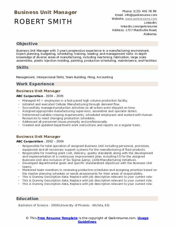 Business Unit Manager Resume example