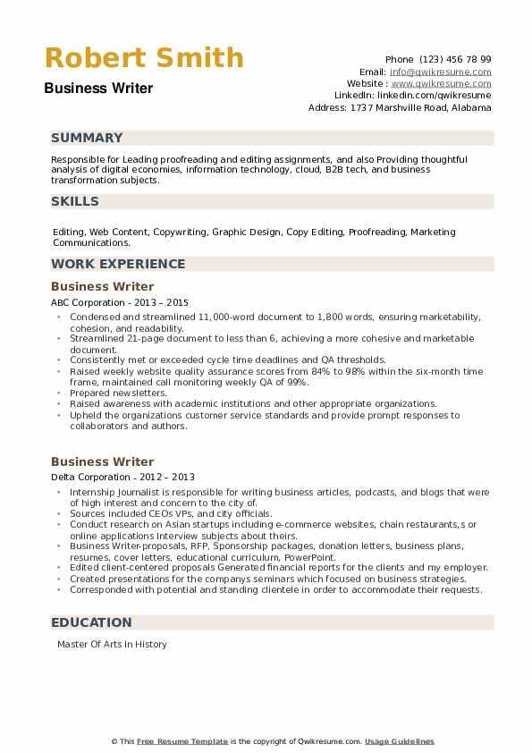 Business Writer Resume example