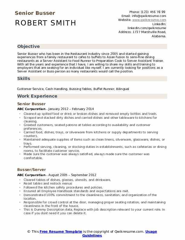 Senior Busser Resume Format