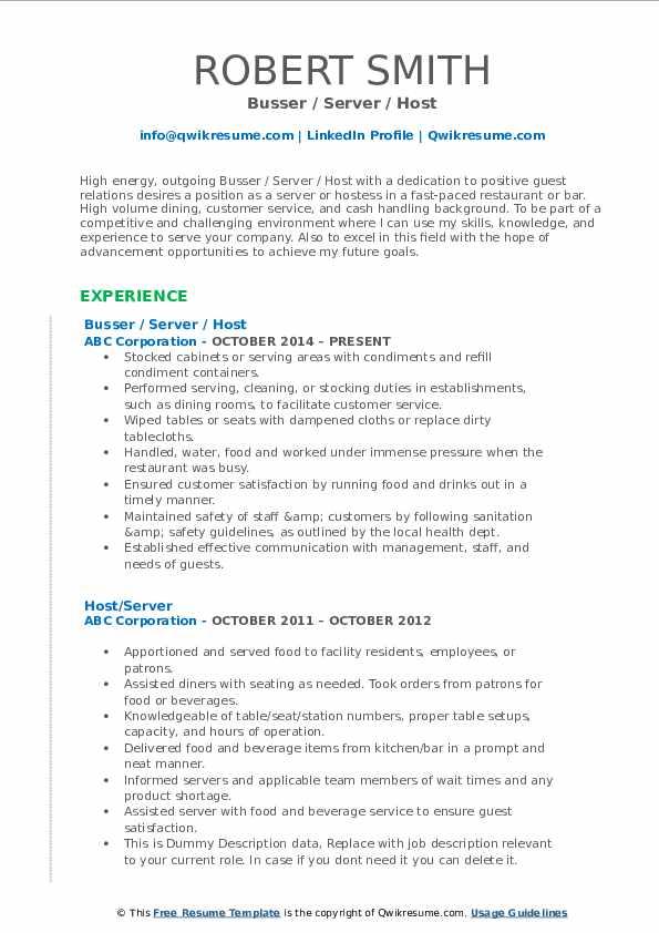 Busser / Server / Host Resume Model