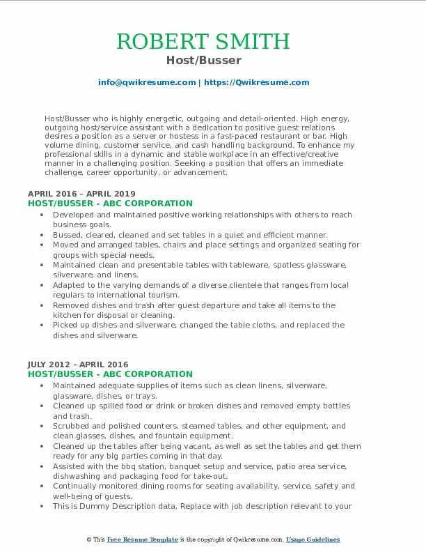 Host/Busser Resume Example