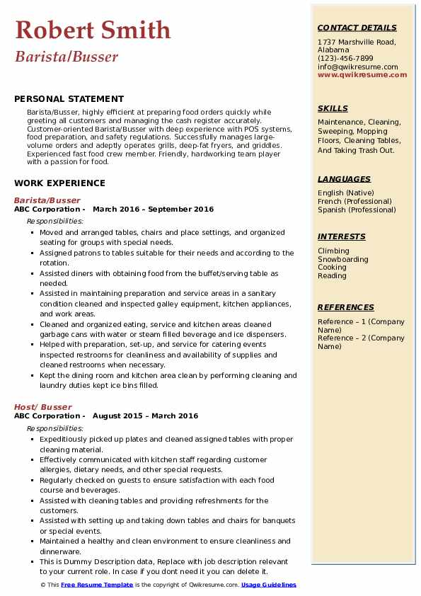 Barista/Busser Resume Format