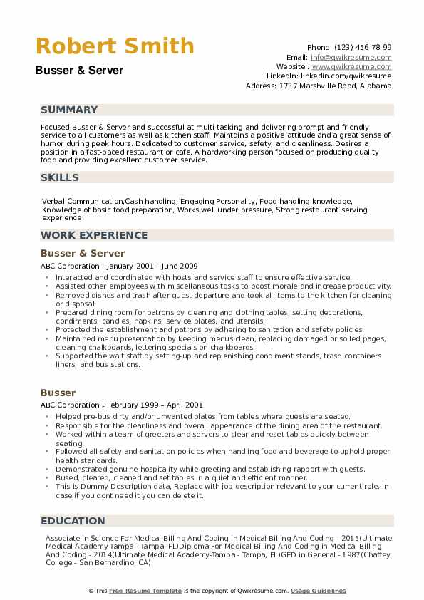 Busser Resume example
