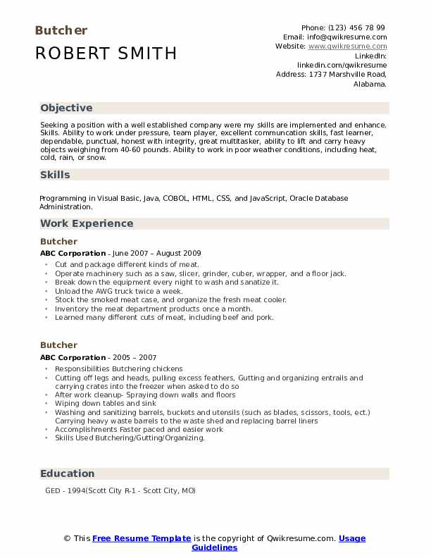 Butcher Resume Format