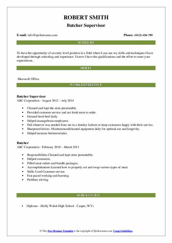Butcher Supervisor Resume Format