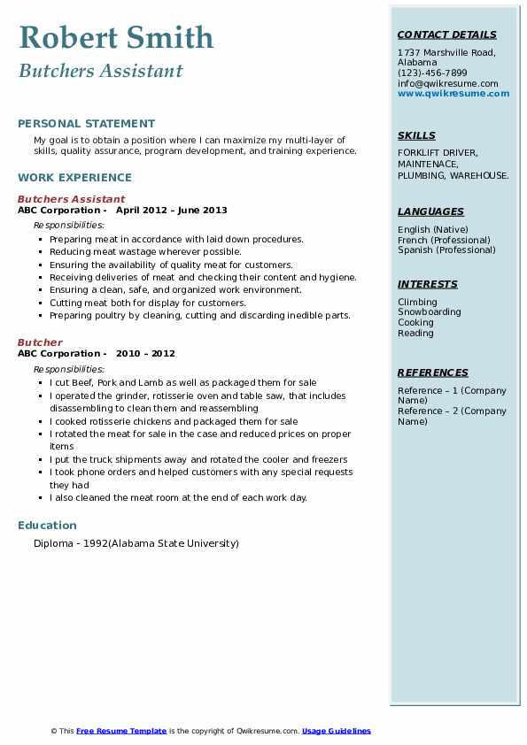 Butchers Assistant Resume Model
