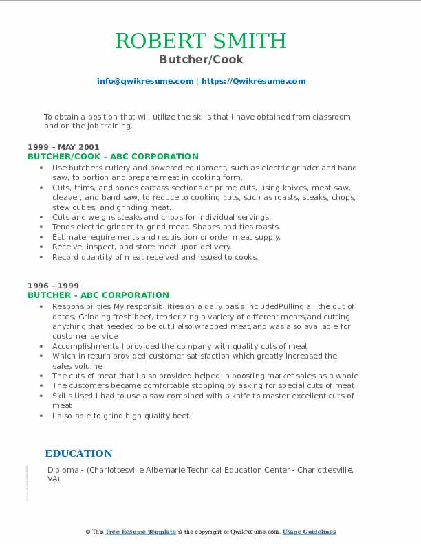 Butcher/Cook Resume Sample