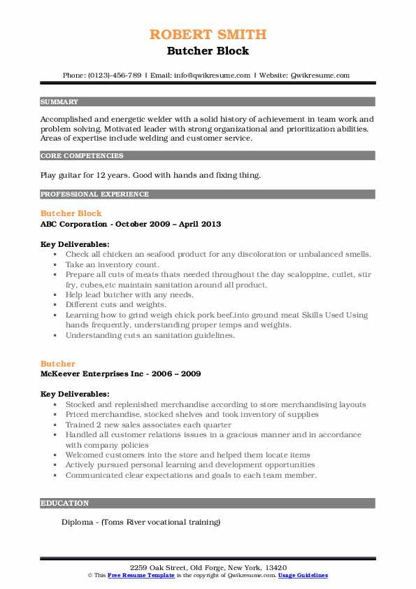 Butcher Block Resume Example