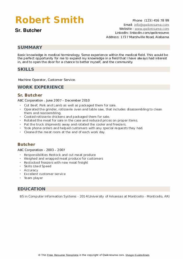 Sr. Butcher Resume Model