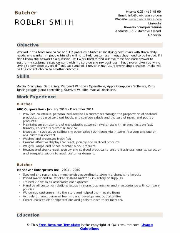 Butcher Resume Model