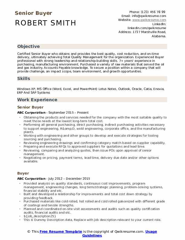 Buyer Resume Samples Qwikresume