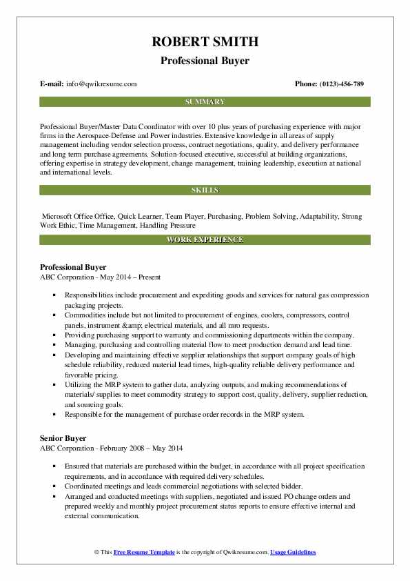 Professional Buyer Resume Sample