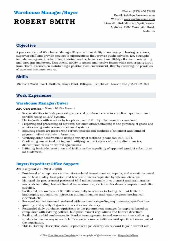 Warehouse Manager/Buyer Resume Sample