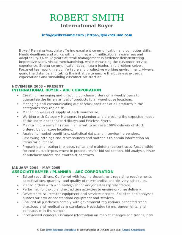 International Buyer Resume Model