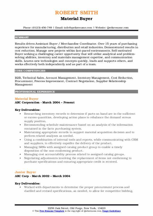 Material Buyer Resume Example