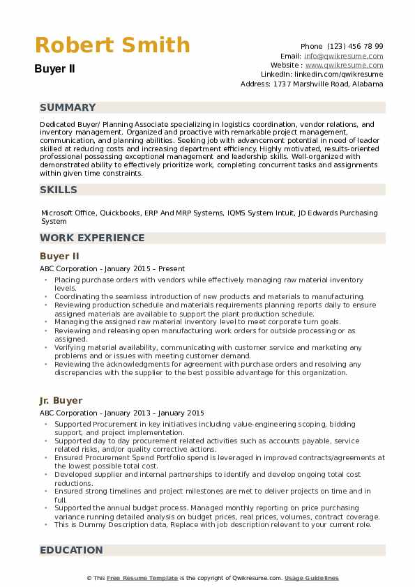 Buyer Resume example